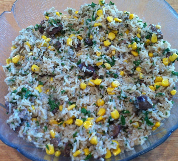 Chicken liver rice & corn salad