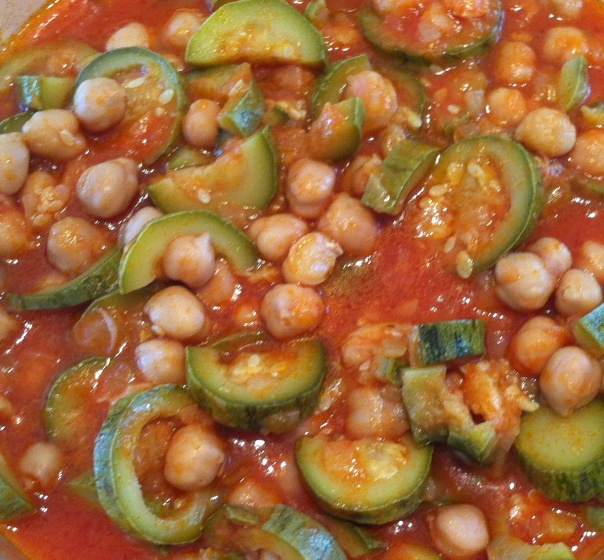 Dada's Zucchini w:chickpeas in tomatoe sauce-close up