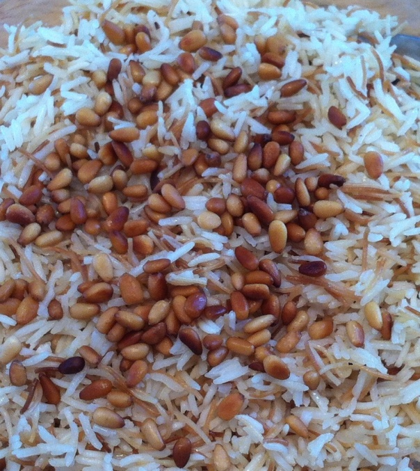 Rice w:vermicelli & pine nuts-close up